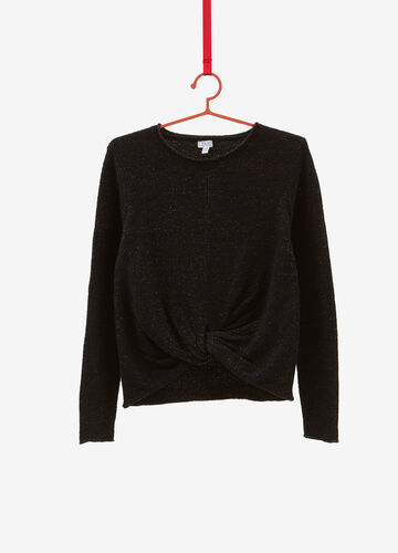 Lurex pullover with knotted hem