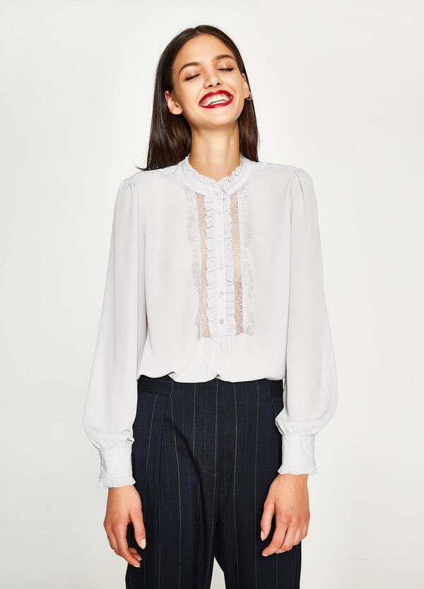 Shirt with Mandarin collar and lace
