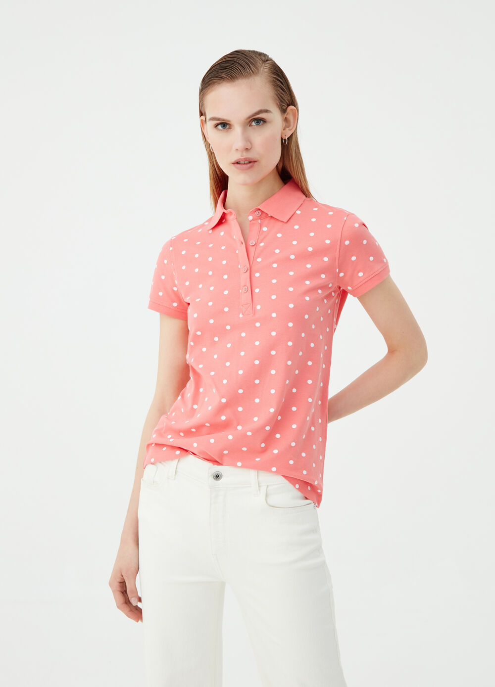 Organic cotton polo shirt with polka dot pattern