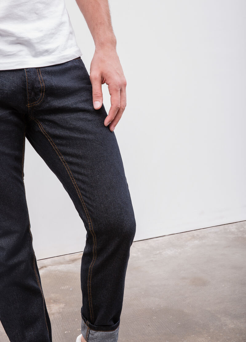 Jeans slim fit cuciture a contrasto