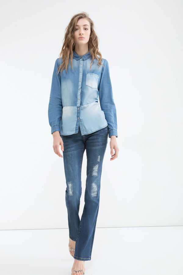 Worn-effect denim blouse | OVS