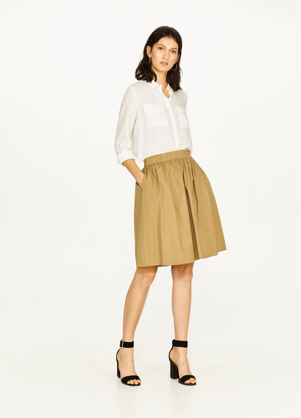 Pleated skirt in cotton poplin