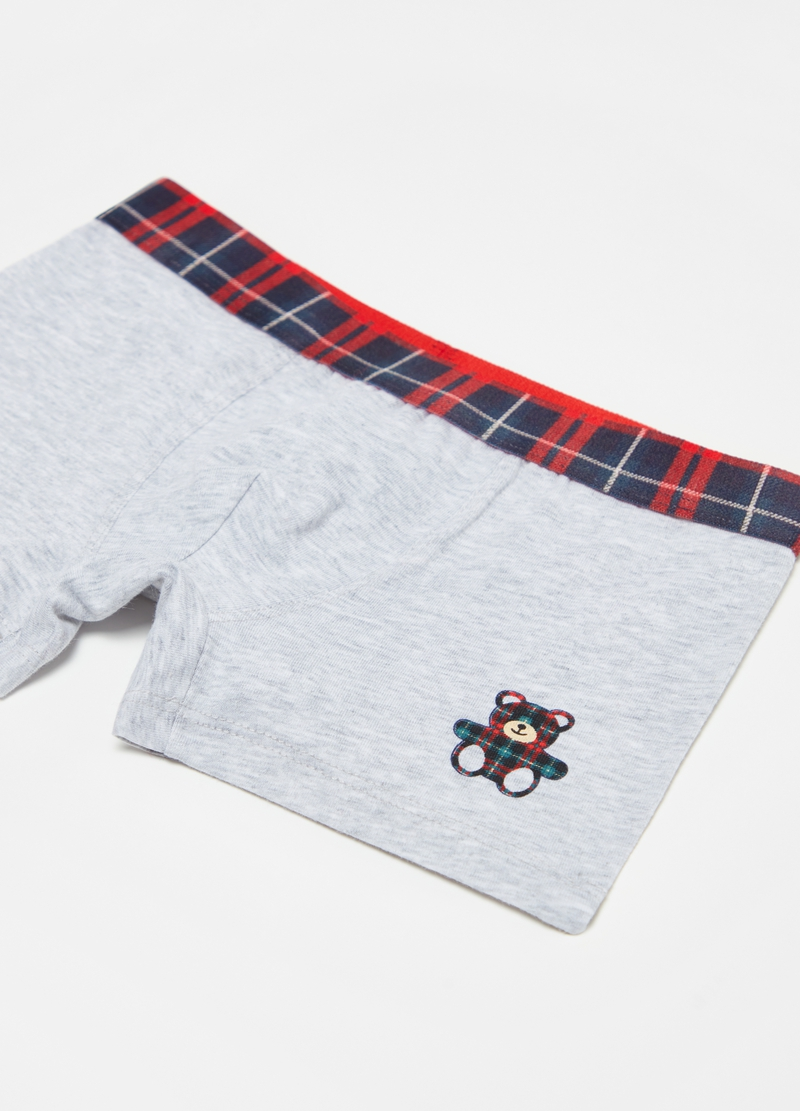 Mélange boxer shorts in stretch cotton image number null