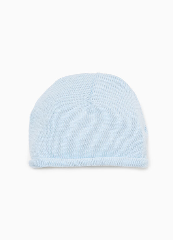 Beanie cap with roll-up brim