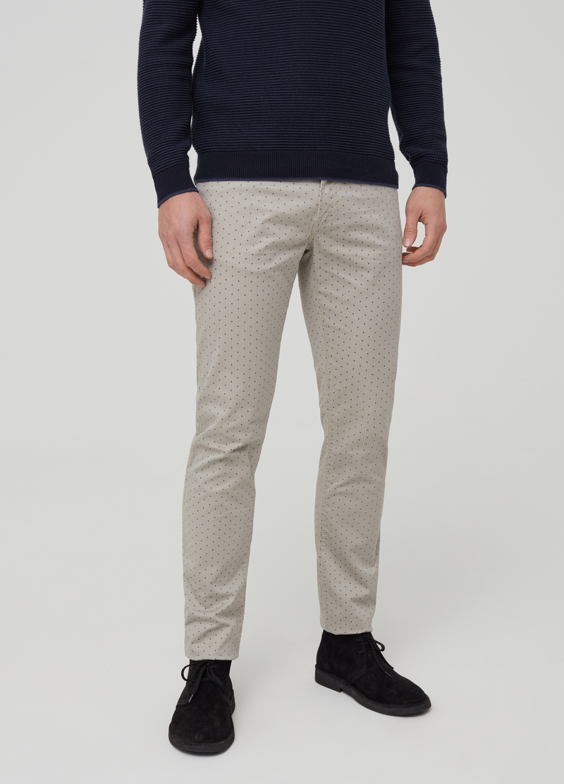 Pantaloni slim fit cinque tasche a pois image number null