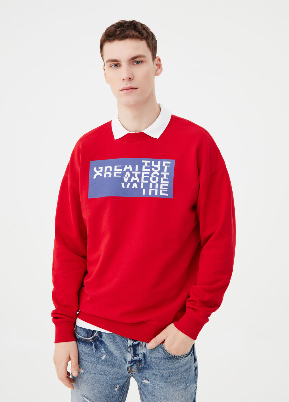 Printed sweatshirt in 100% cotton