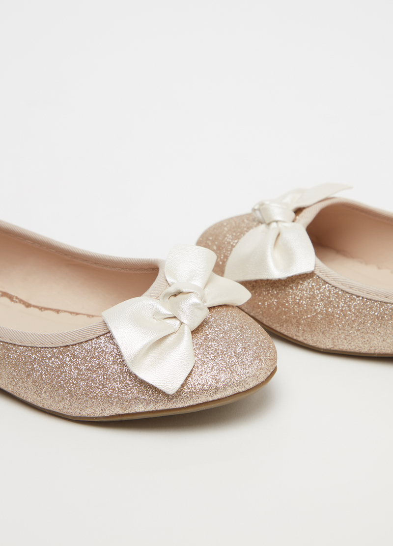 Glitter ballerina flats with bow image number null