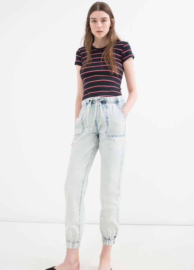 Regular fit jeans with drawstring