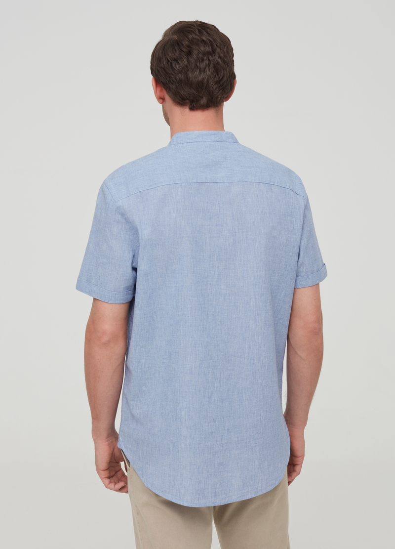 Linen and cotton shirt with short sleeves image number null