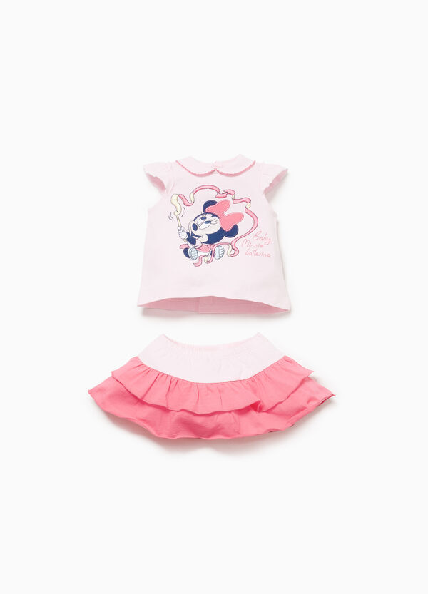 Cotton Minnie Mouse T-shirt and skirt outfit
