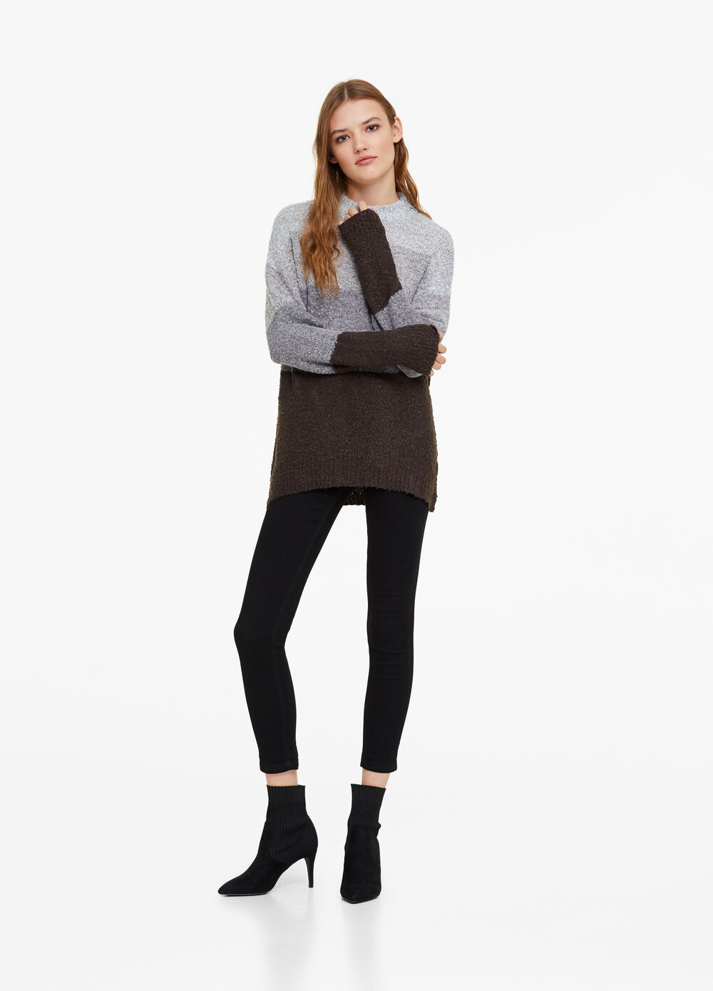 Knitted pullover with striped high neck