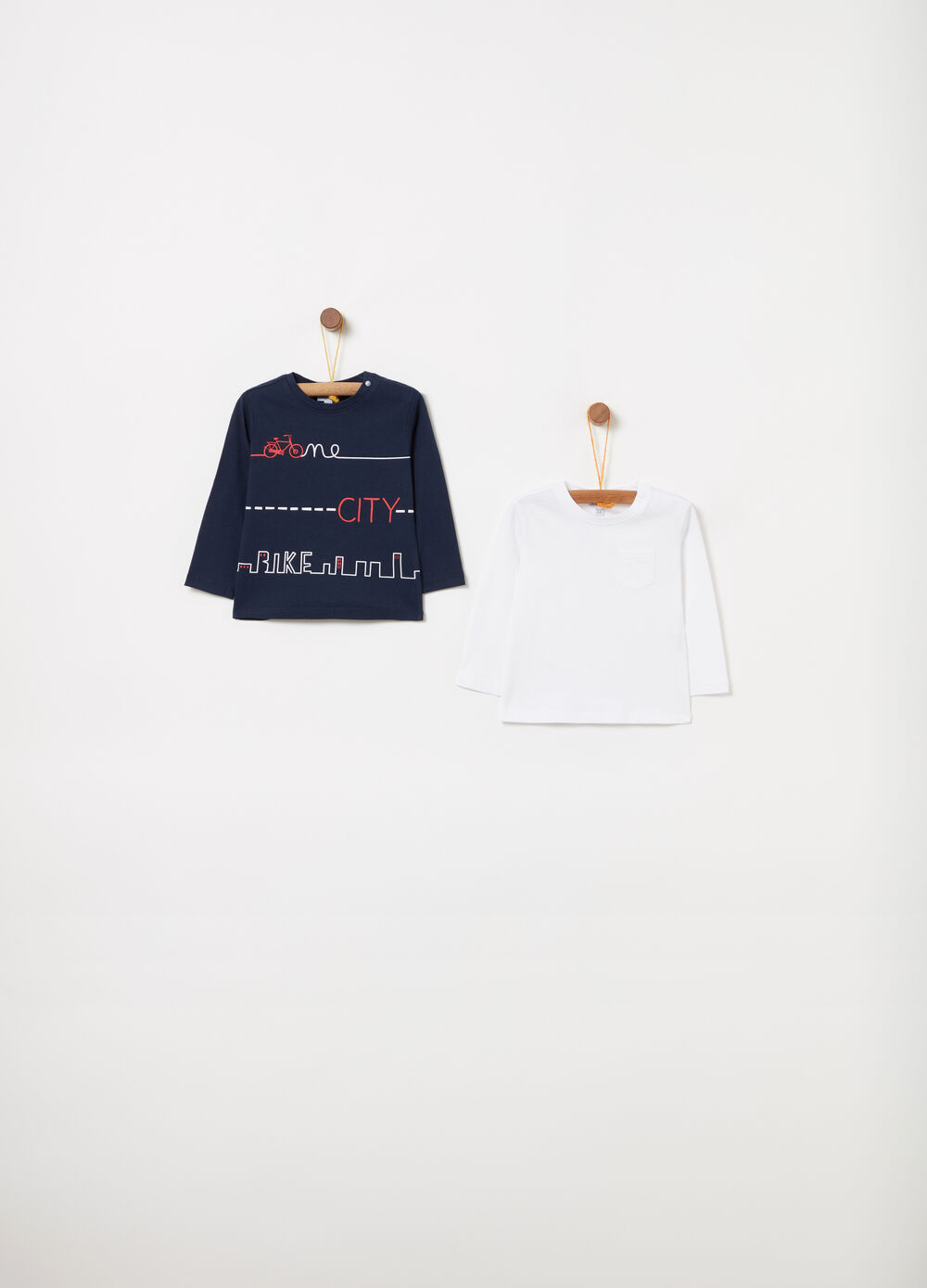 Two-pack T-shirts in cotton with long sleeves