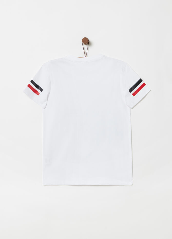 T-shirt jersey costina stampa effetto lucido