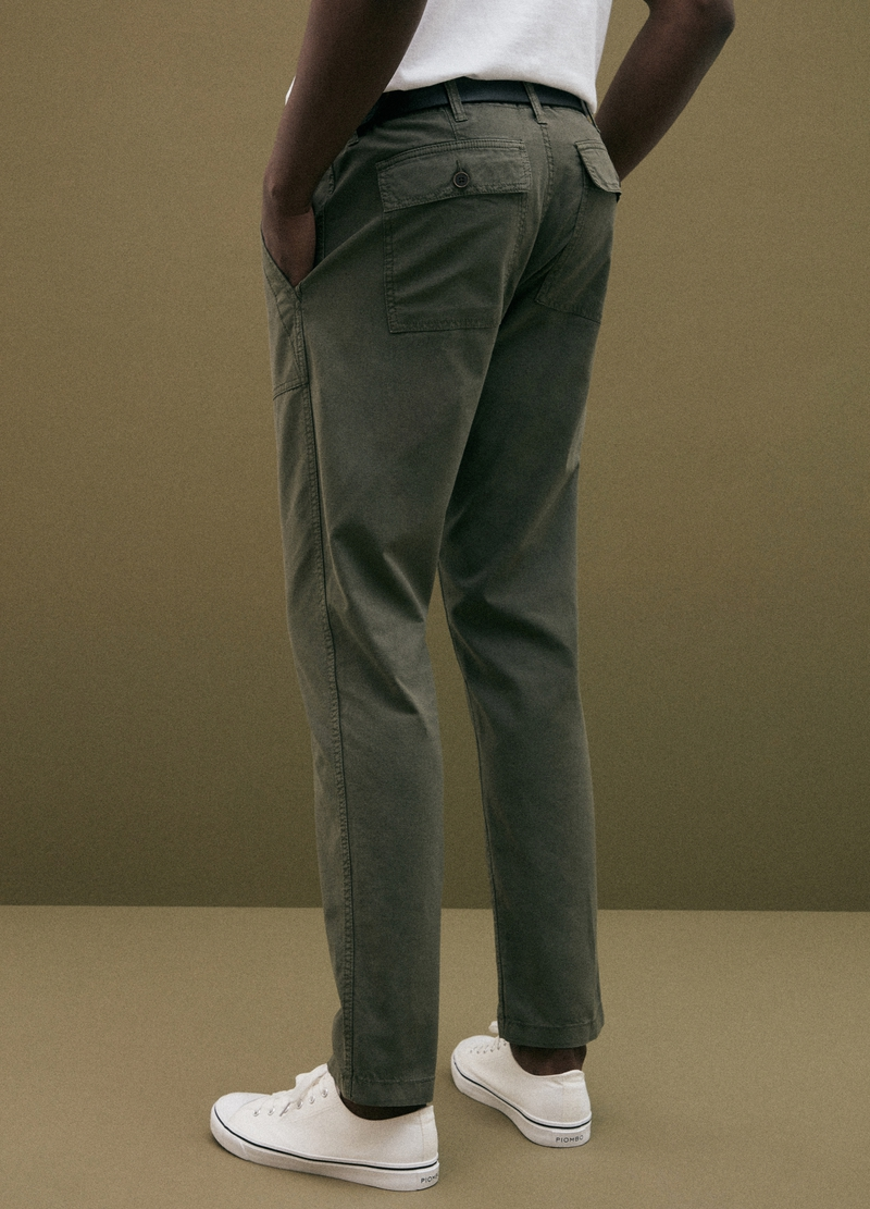 PIOMBO pilot chino trousers in linen and cotton image number null