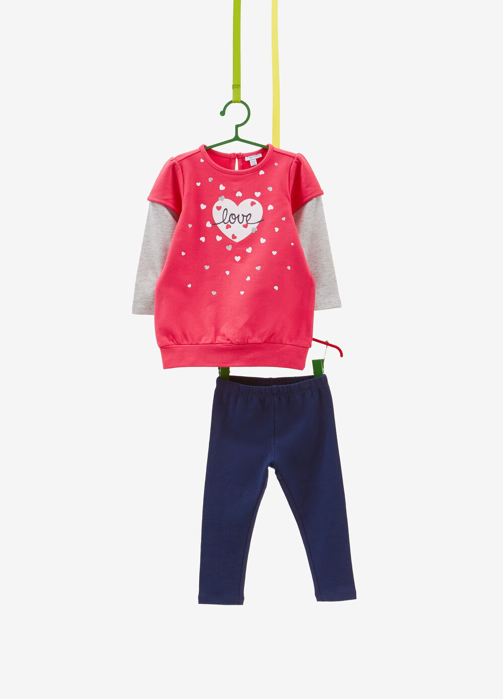 Cotton tracksuit with faux layering and glitter hearts