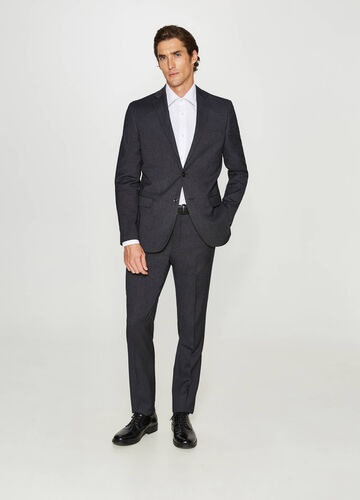 Regular-fit suit in wool blend with micro polka dots