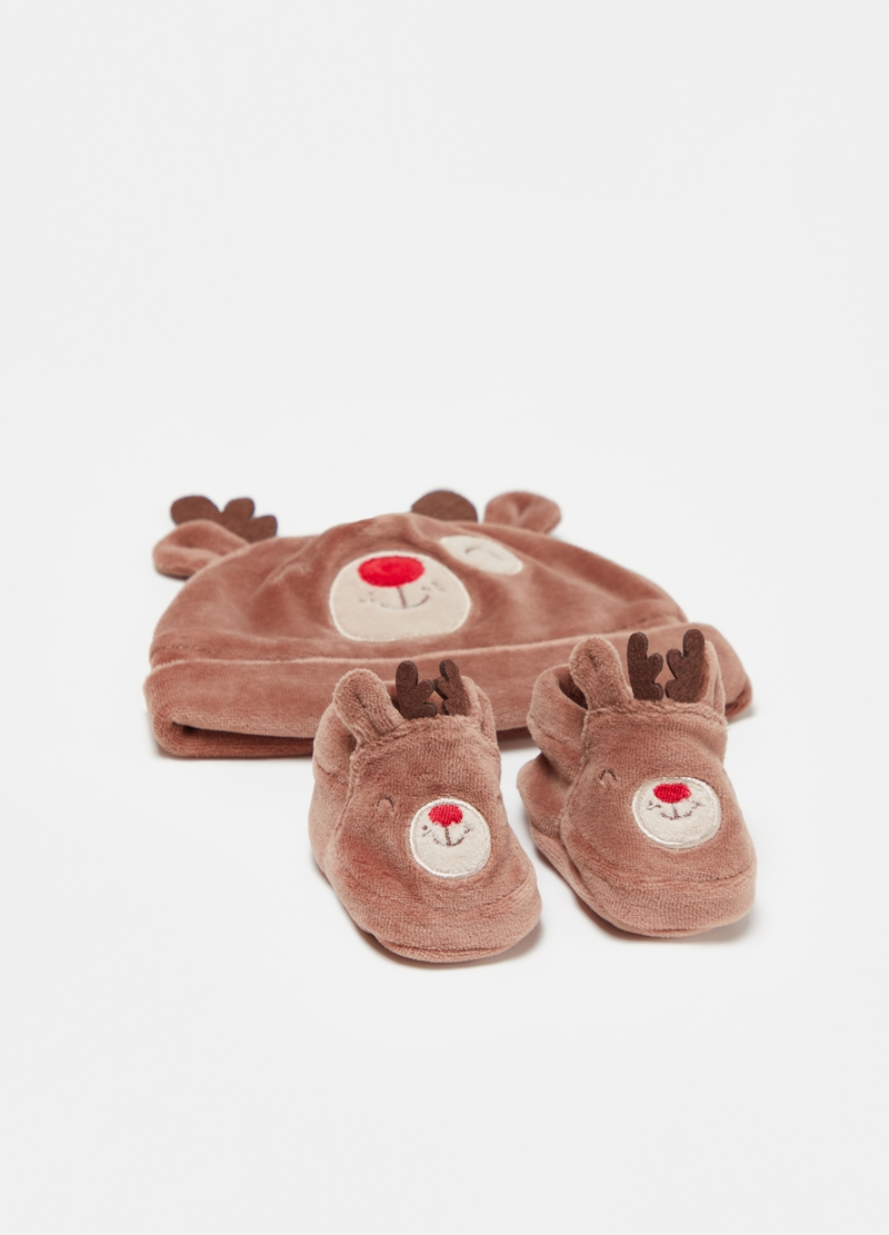 Hat and shoes set in cotton with moose image number null