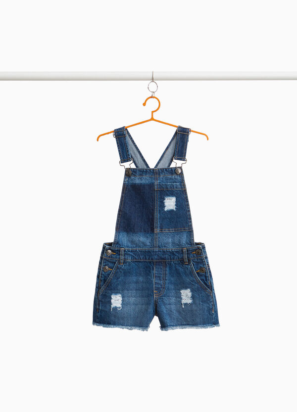 Worn-effect frayed denim dungarees