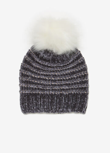 Chenille beanie cap with pompom