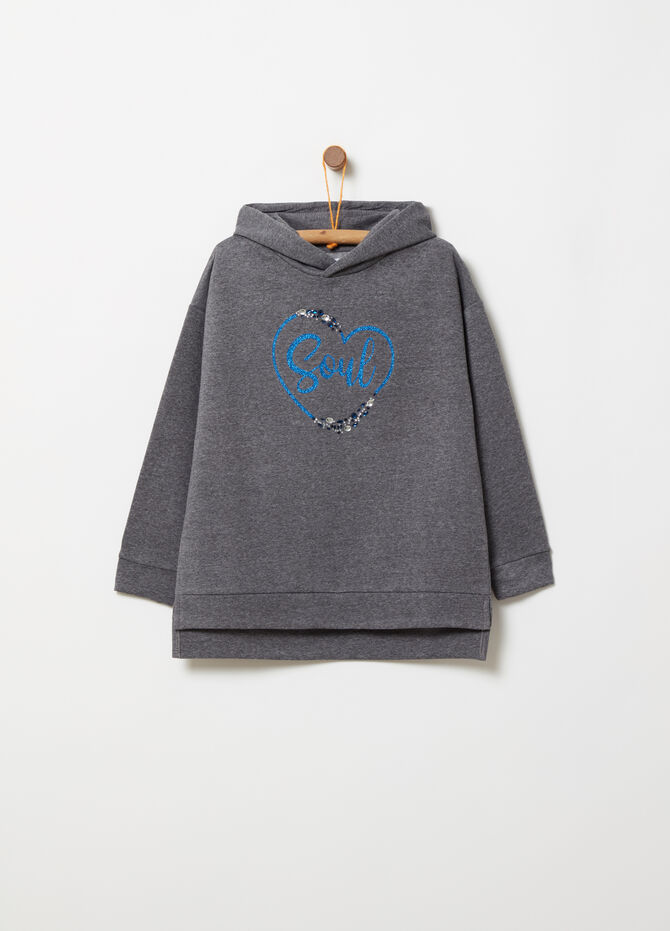 Sweatshirt with glitter print and diamantés