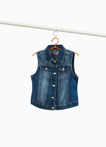 Washed-effect denim gilet with pockets