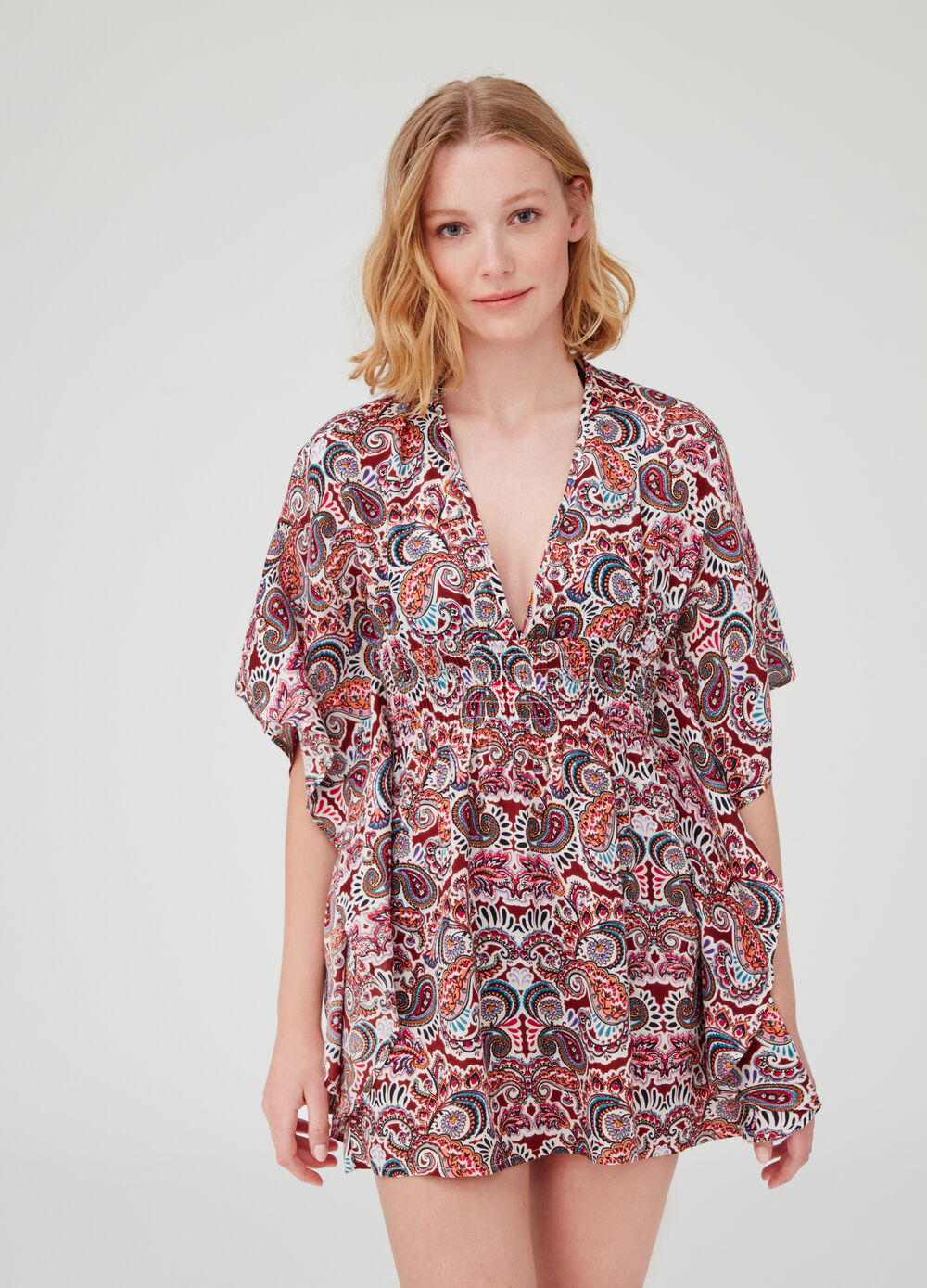 Paisley poncho with batwing sleeves