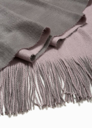 Two-tone scarf with long fringing
