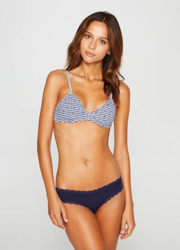 Two-pack soft bras: solid colour stripes and hearts | OVS