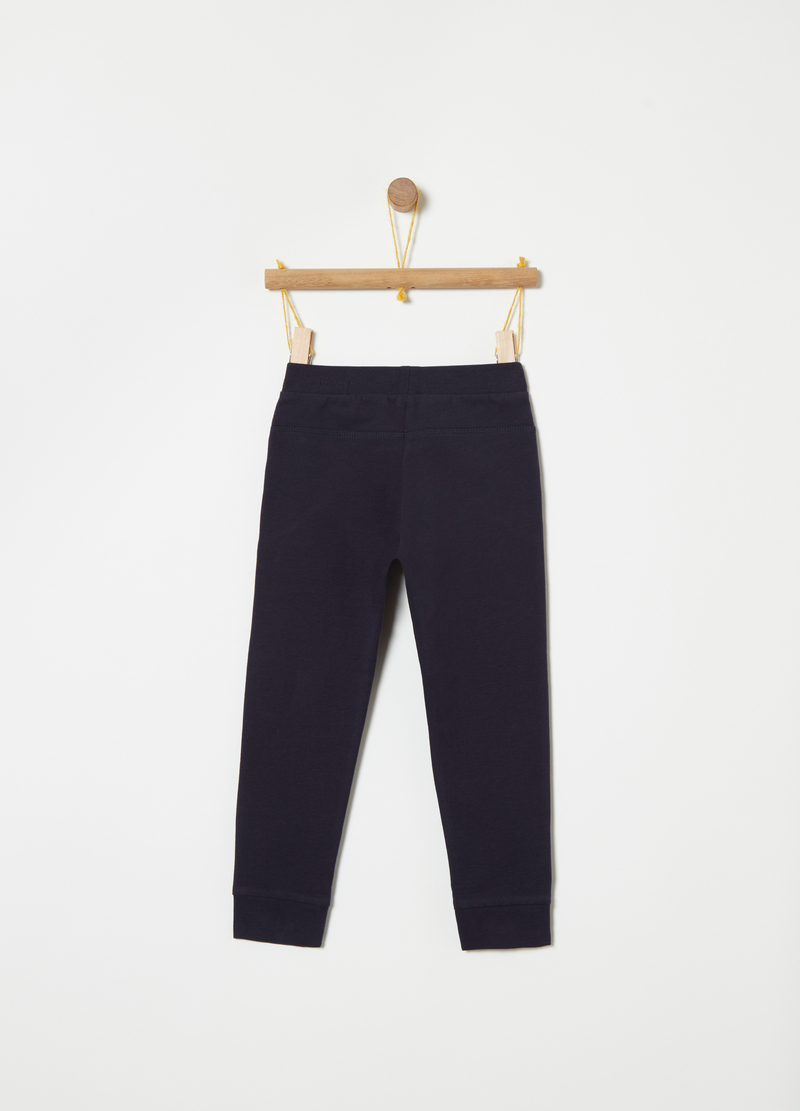 Stretch fleece trousers with print image number null