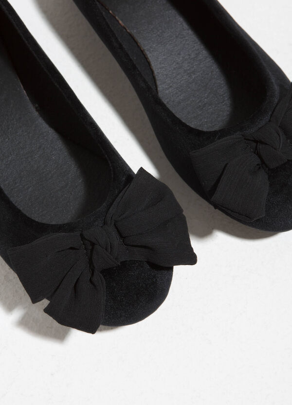 Velour ballerina flats with bow | OVS