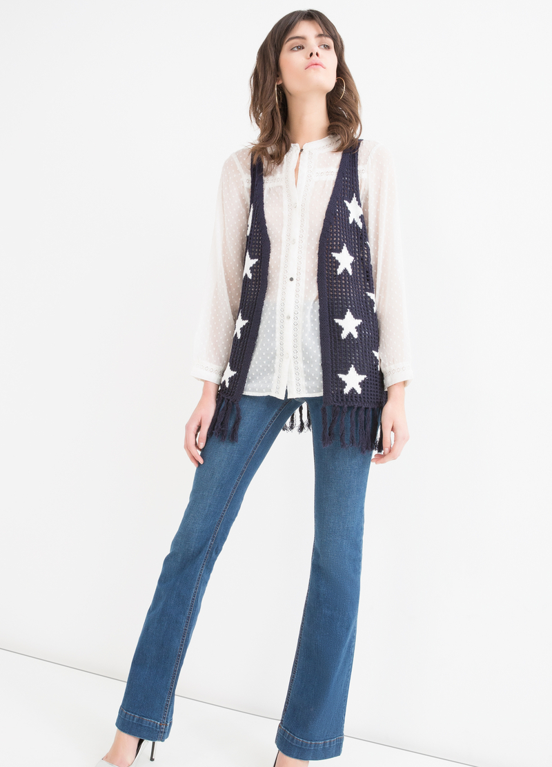 Gilet tricot con fantasia stelle image number null
