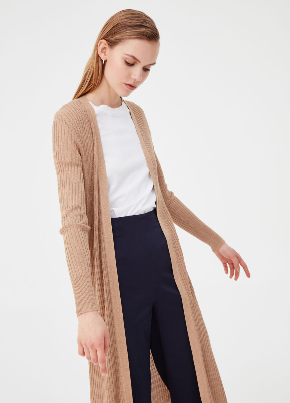 Long ribbed cardigan with lurex