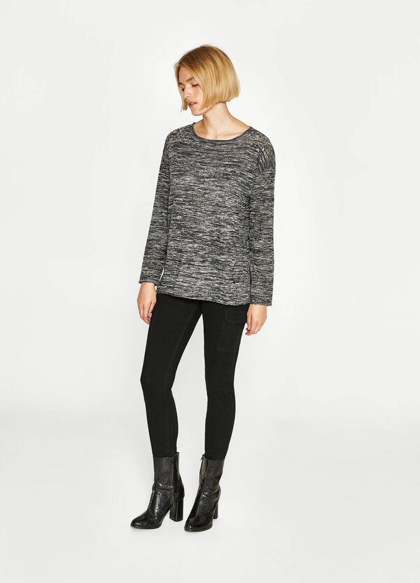 Mélange viscose pullover with studs | OVS
