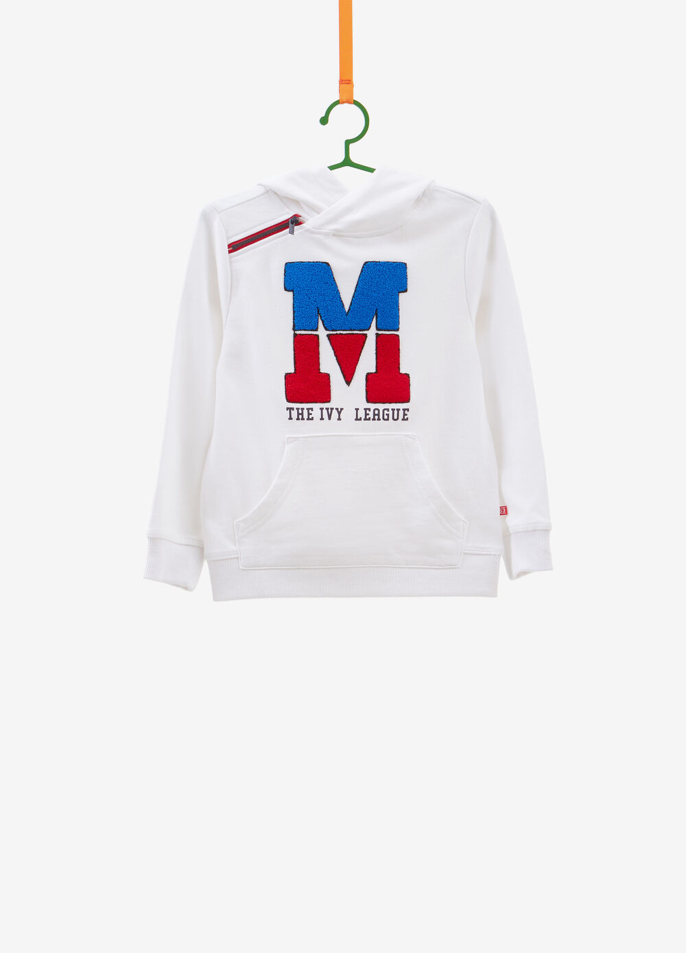 Sweatshirt with patch and printed lettering