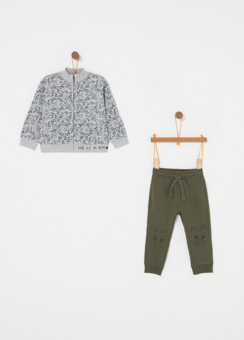 Sweatshirt and trousers jogging set with zip and Lion King