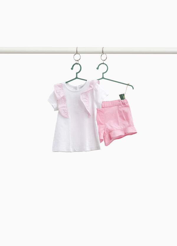 Cotton outfit with striped flounce