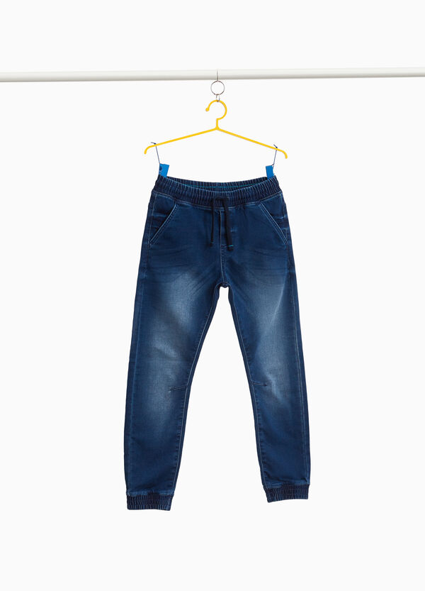 Jeans jogger fit stretch delavati