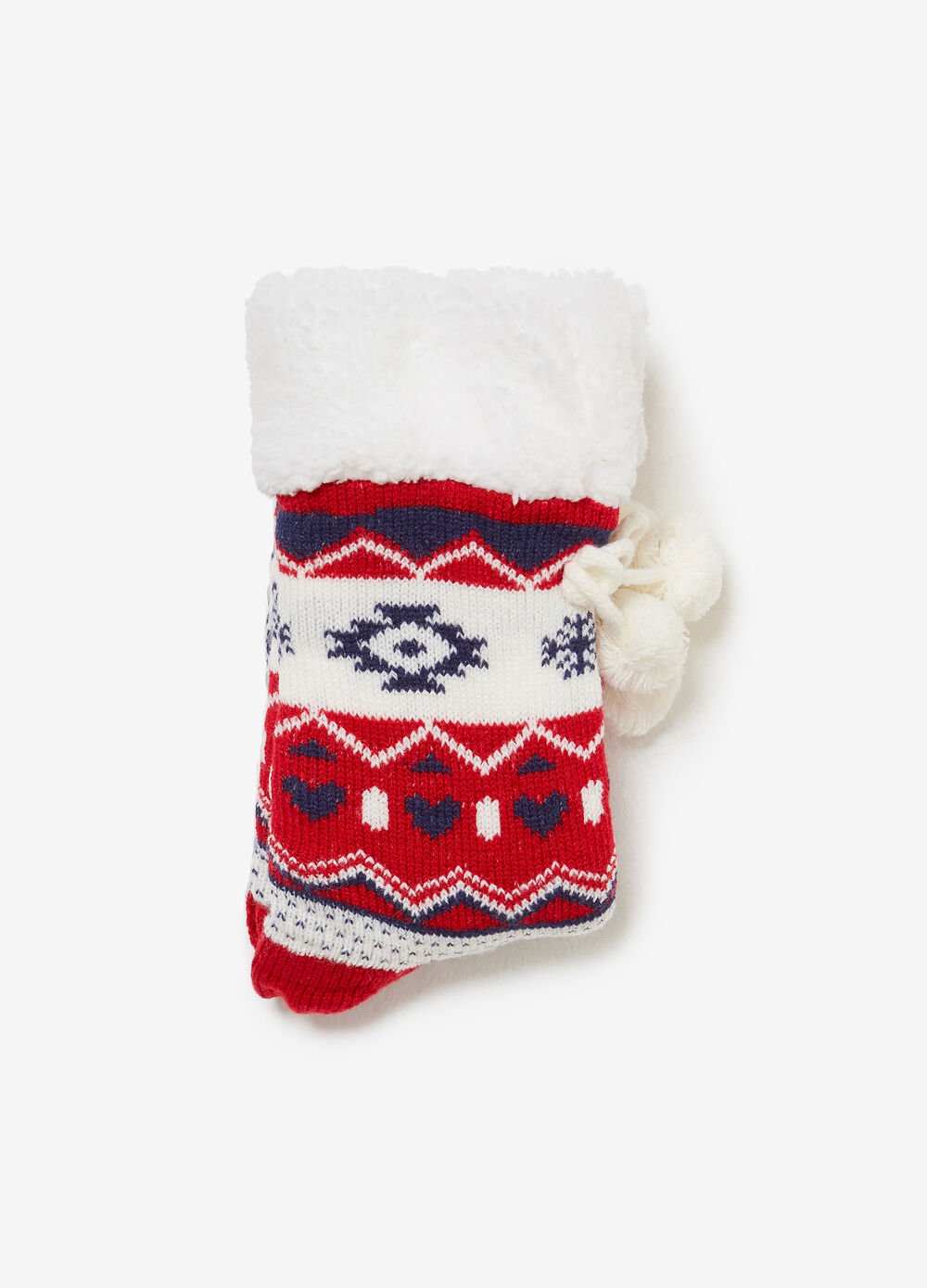 Slipper socks with pompoms and Christmas pattern