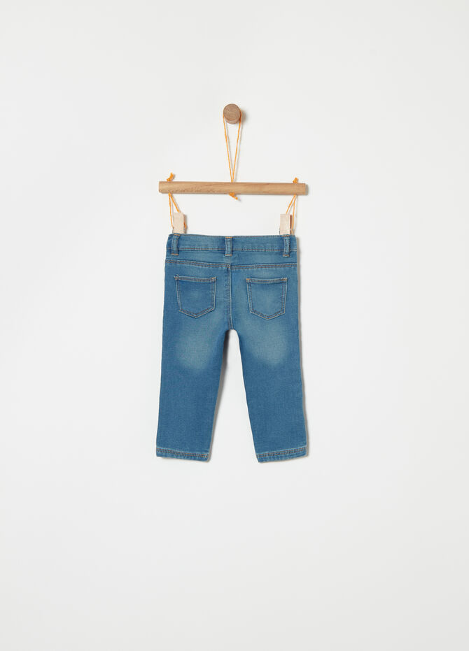 Pantalone in French Terry denim con strass