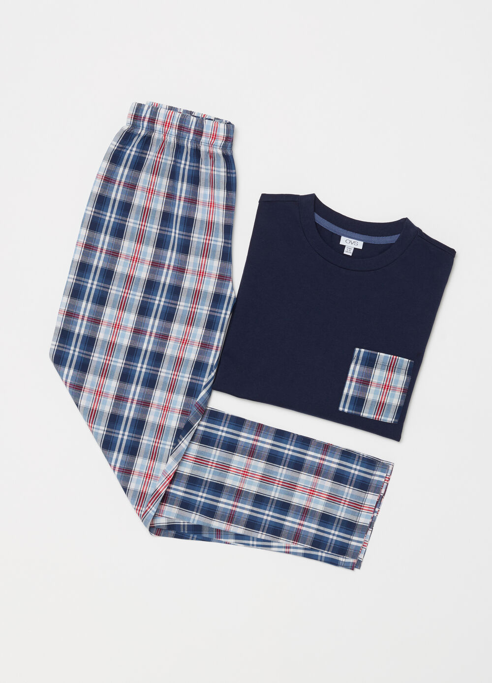 Lightweight cotton pyjamas with pocket and check pattern