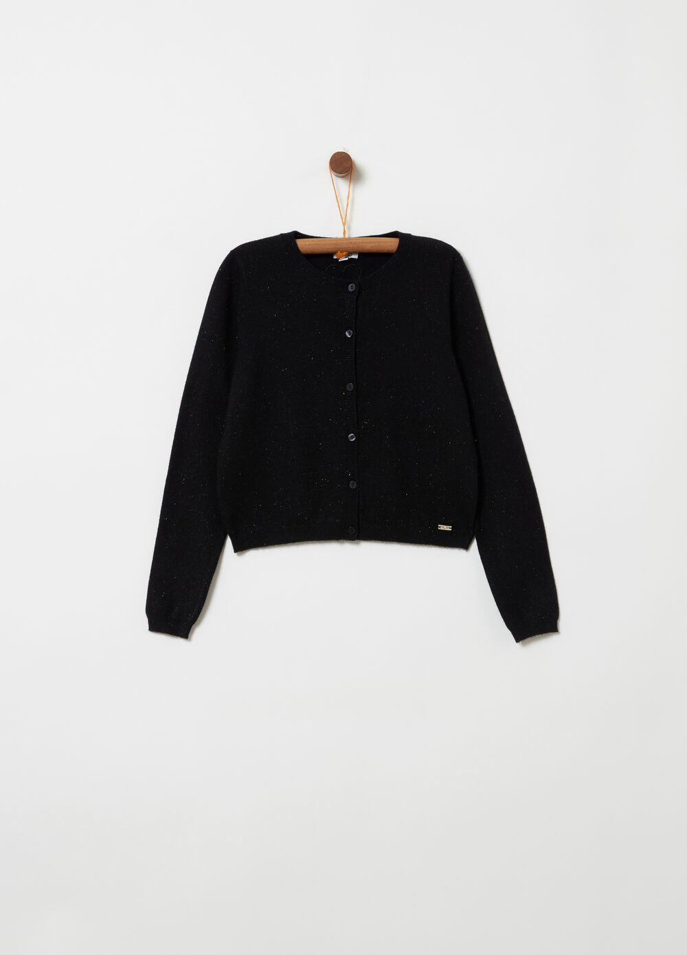 Knitted crop cardigan with lurex and embroidery