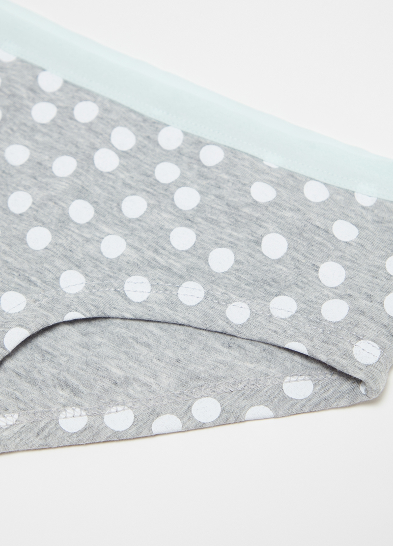 Stretch cotton French knickers with polka dots image number null