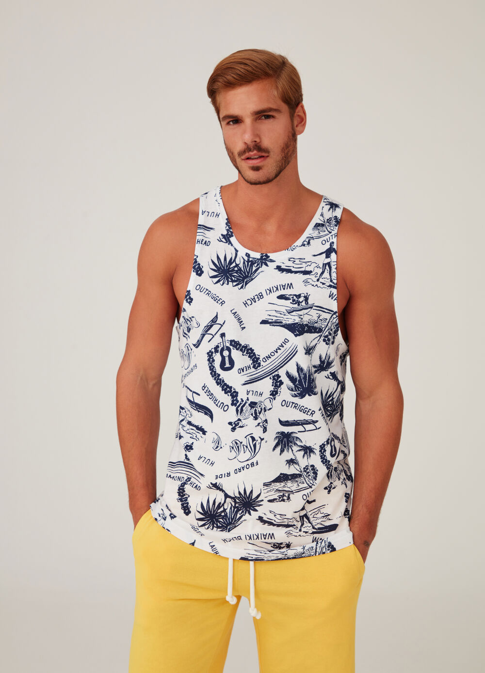 100% cotton vest with all-over print