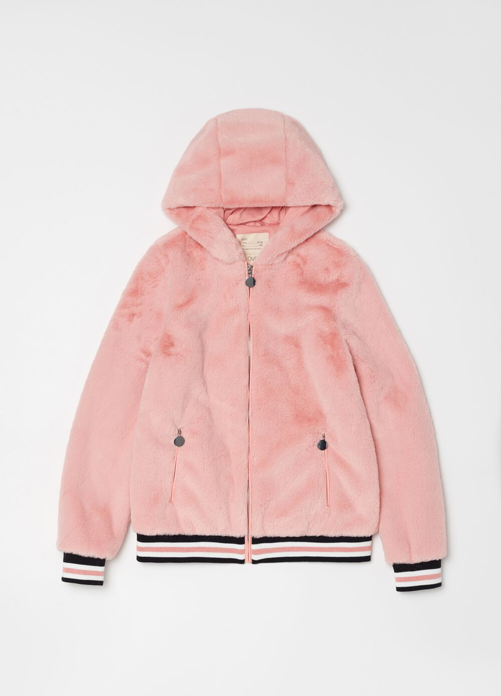 Faux fur bomber jacket with zip