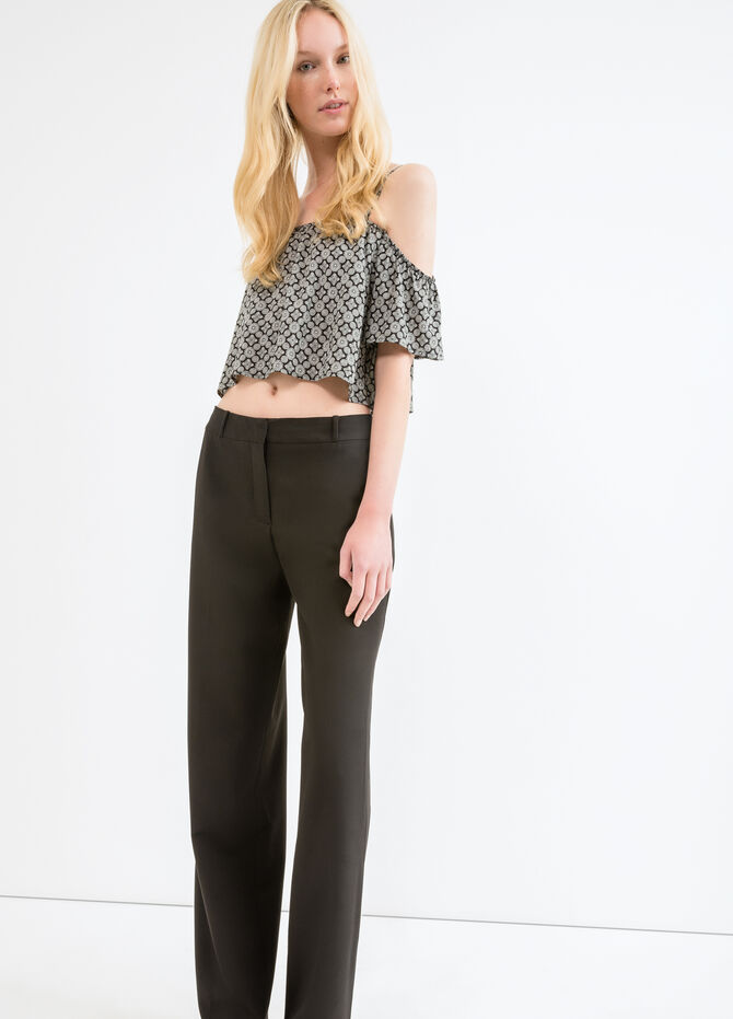 Solid colour viscose trousers
