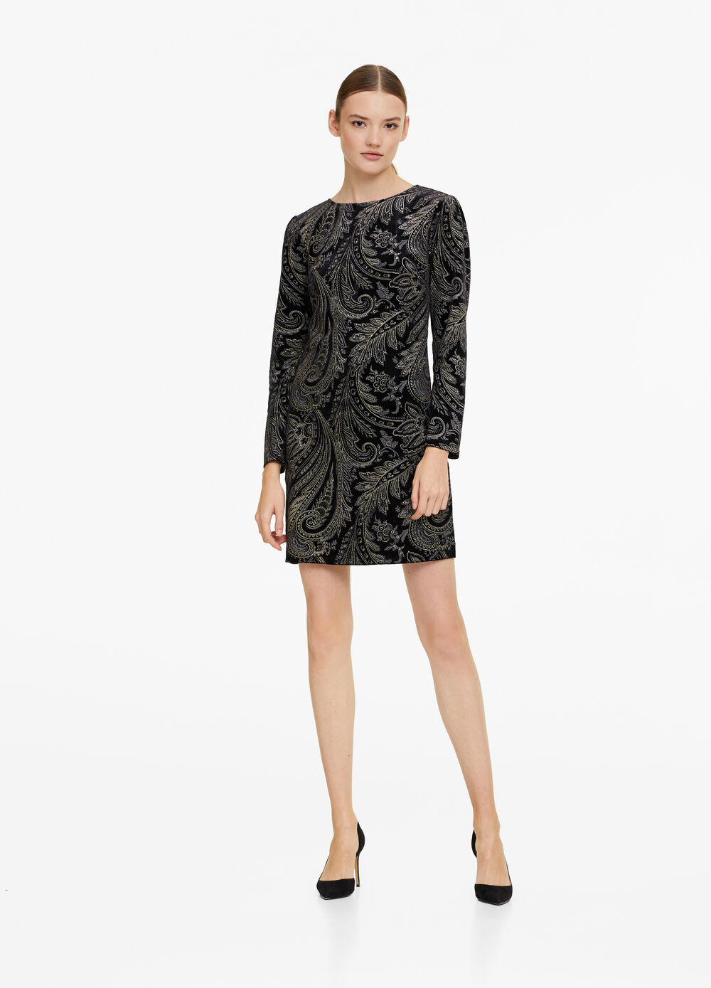 Lurex-effect velvet dress