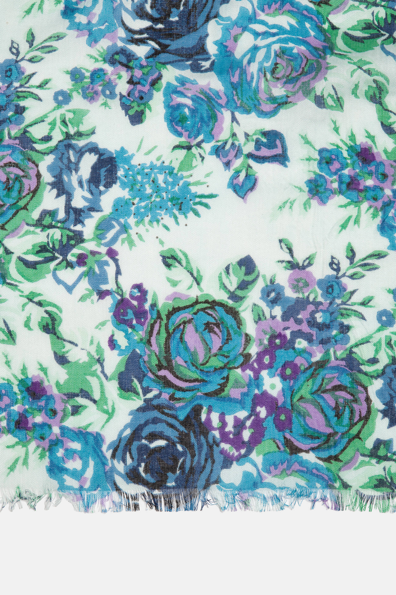 Floral print scarf in 100% viscose image number null