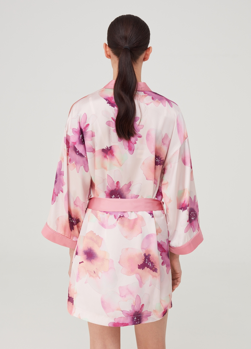 Floral dressing gown with belt image number null