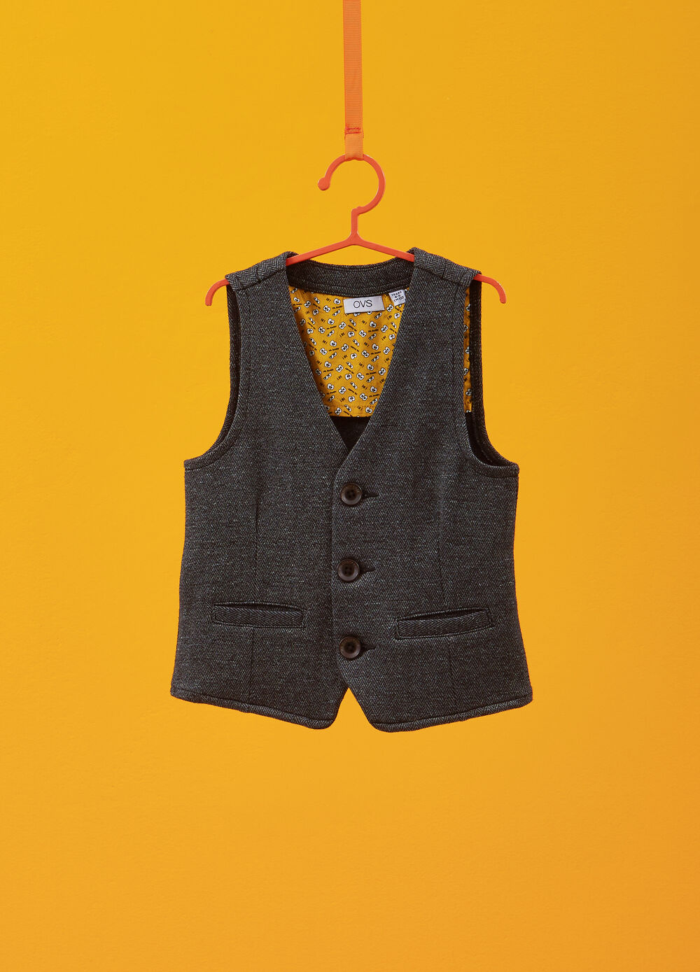 Stretch cotton gilet with buttons