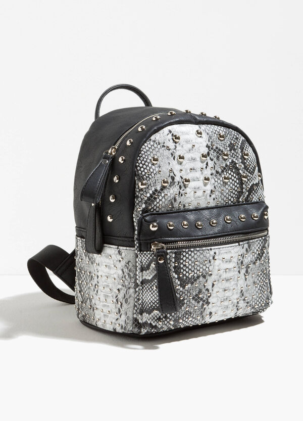 Snakeskin backpack with studs and zip | OVS
